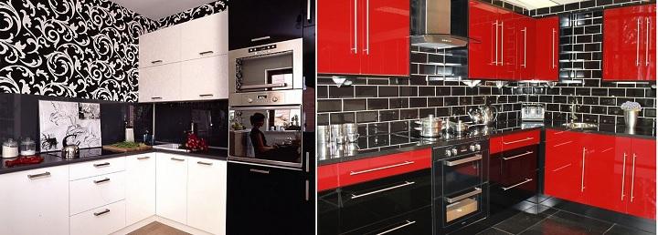 Кухни в черном и красном дизайнах