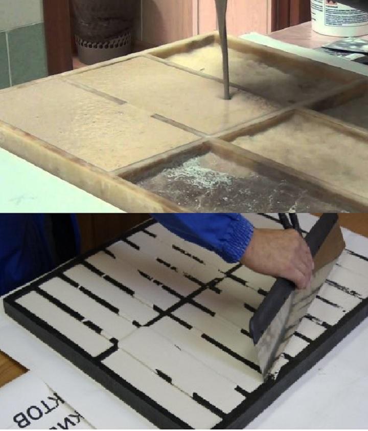 Заполнение формы составом для искусственного камня