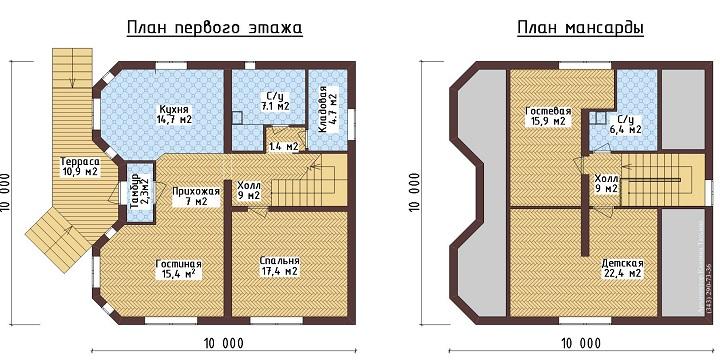 Планировка дома 10на10