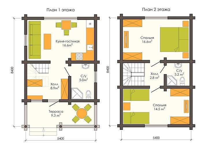 Планировка дома 5на5