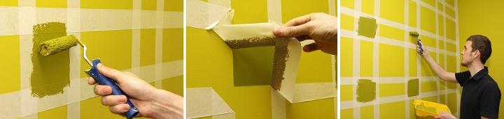 Использовании малярного скотча при декоре стен