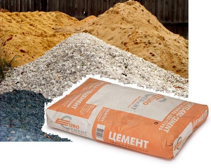 Песок, цемент, щебень