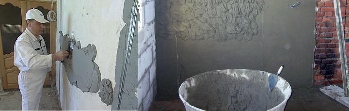 Смесь для выравнивания стены. Цементная
