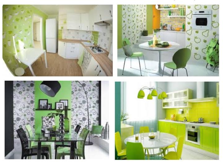Зеленый дизайн кухни