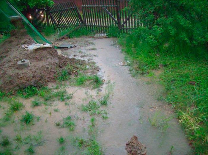 Дом находится в низине и вода стекает в него