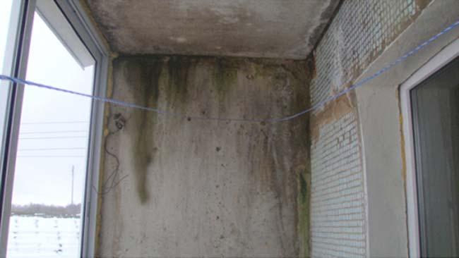 Протечка крыши балкона