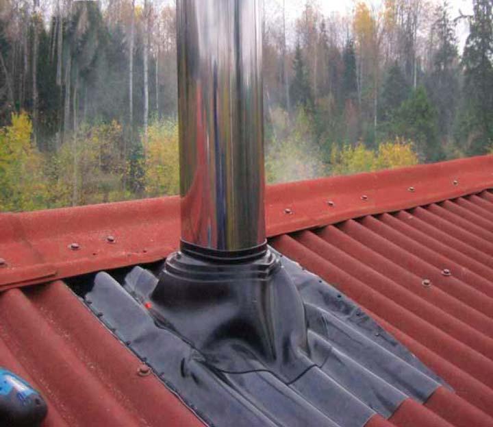 Протечка крыши возле печной трубы