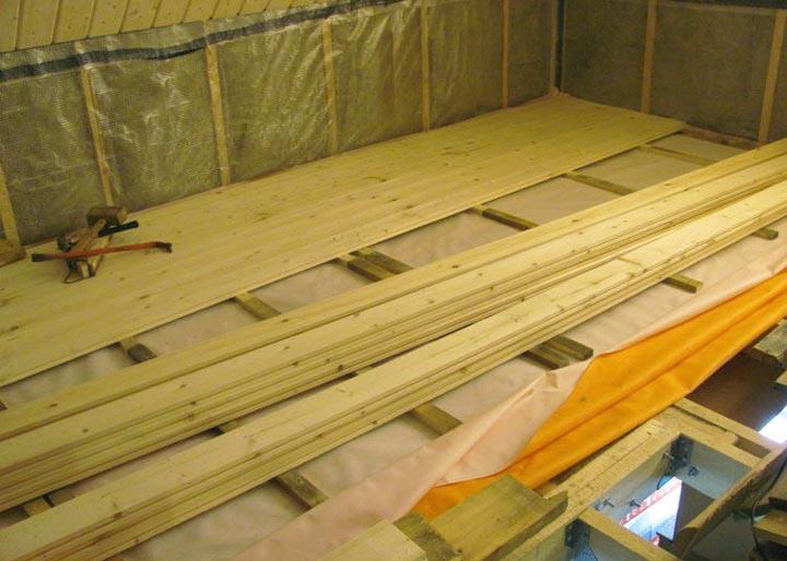 Монтаж пола в деревянном доме