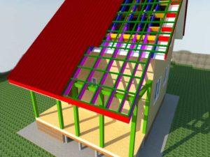 Крыша веранды в процессе постройки