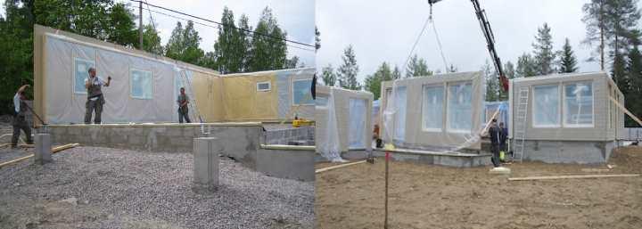 Сборка модулей финского домика
