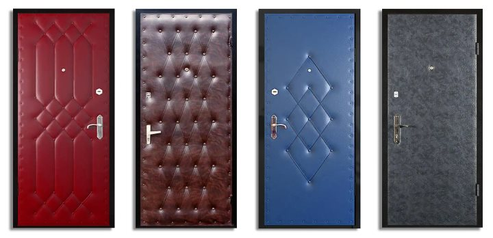 4 двери с узорами дермантина