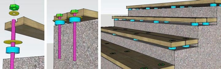 Монтаж ступеней из дерева к бетону