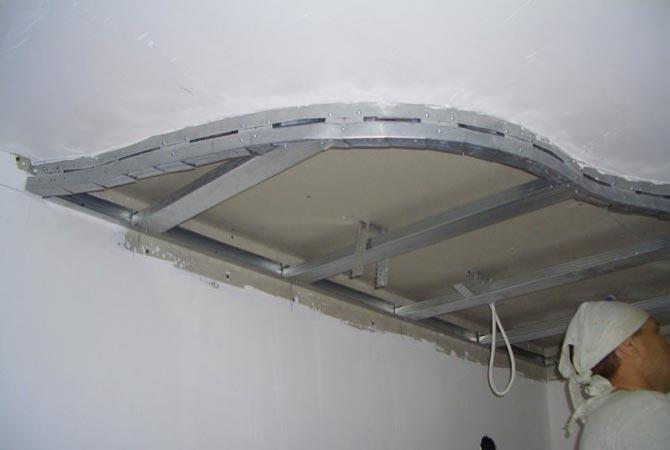 Создание двухуровневого потолка при помощи гипсокартона