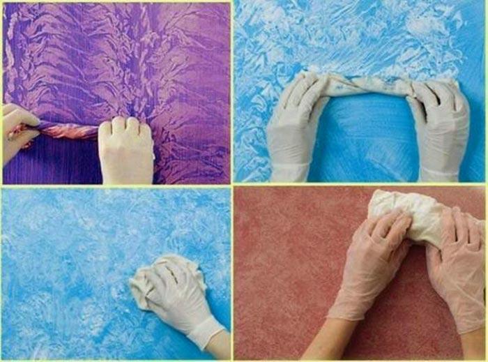 Разнообразие способов нанесения фактурной краски на стены