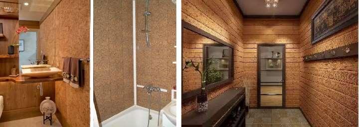 Пробковые материалы в дизайне ванной