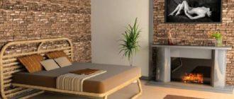 Спальня в декорации камня