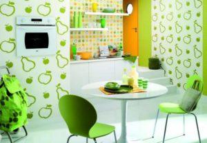 Кухня в зелено-оранжевой гамме