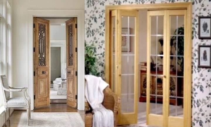 Двойная межкомнатная дверь в двух стилях