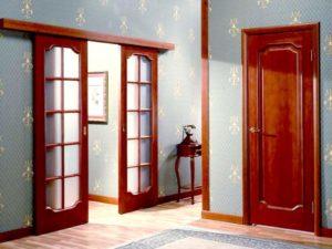 Двойная межкомнатная дверь терракотового цвета