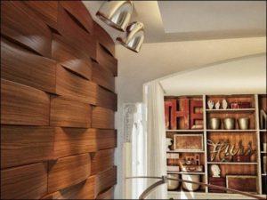 Стена с панелями из дерева
