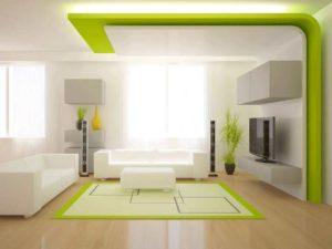 Зеленый цвет многоуровневого потолка