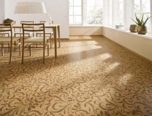 Дизайн комнаты с пробкой на полу