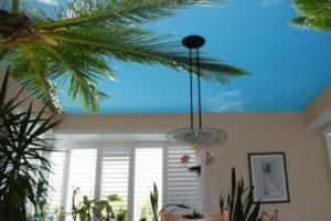Потолок с рисунком пальм