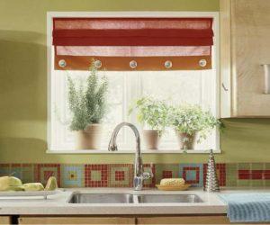 Люверсы на шторе кухни