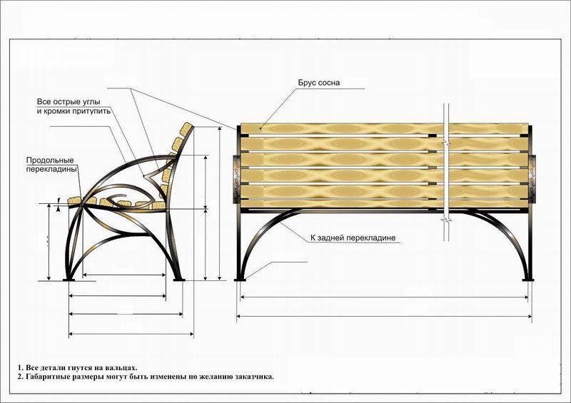 чертеж лавочки с деревом кованной