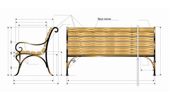 кованная с деревянной спинкой скамейка