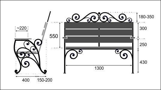 чертеж скамейки с витками