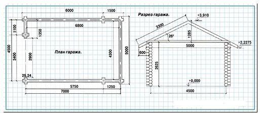простой чертеж гаража с размерами +Фото