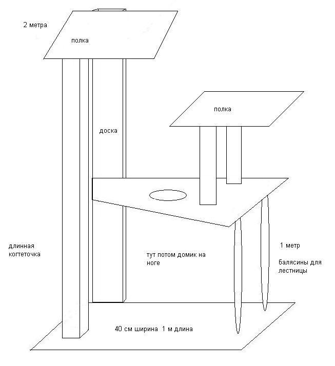 чертеж простого домика для кошки
