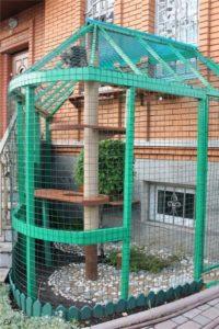Домик из сетки для кошки на дачу