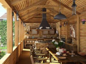 Пристроенный вариант летней кухни