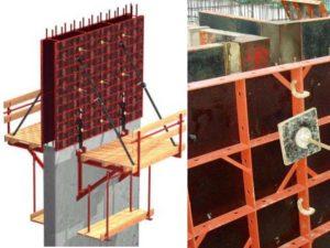 Схема возведения опалубки для стен