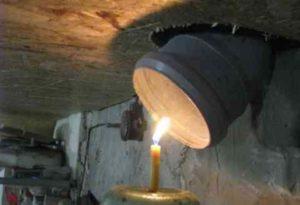 Свеча под вентиляцией