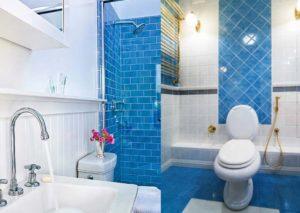 Синяя плитка в туалетной комнате