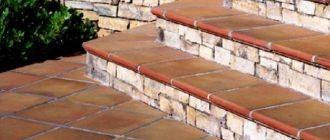 Плитка терракотового цвета на ступенях