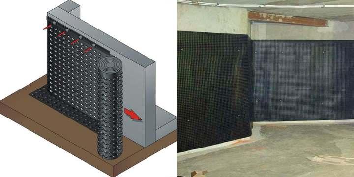 Монтаж мембраны для гидроизоляции фундамента