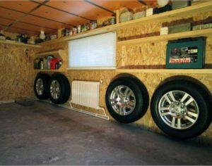 Полки под колеса в гараже