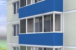 Синий балкон под сайдинг
