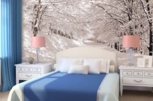 Фотообои Зима в спальне