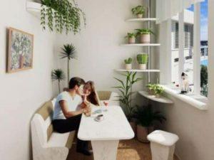 Белый дизайн и маленький балкон