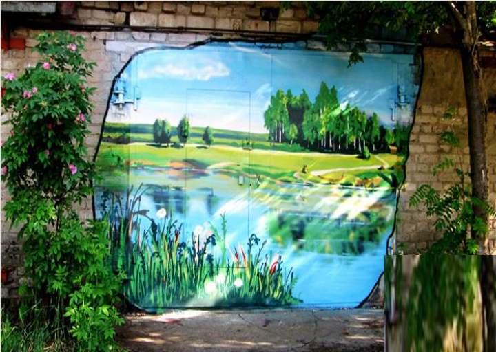 Пейзаж на стене гаража