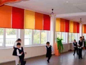 Занавески простые в коридоре школы