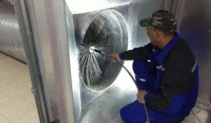 Очистка вентиляции давлением воздуха
