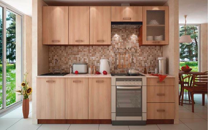 Кухонный гарнитур цвета светлого ореха
