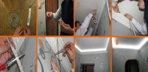 Установка ленты светодиодов под потолок