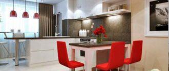 Красные элементы декора на кухне